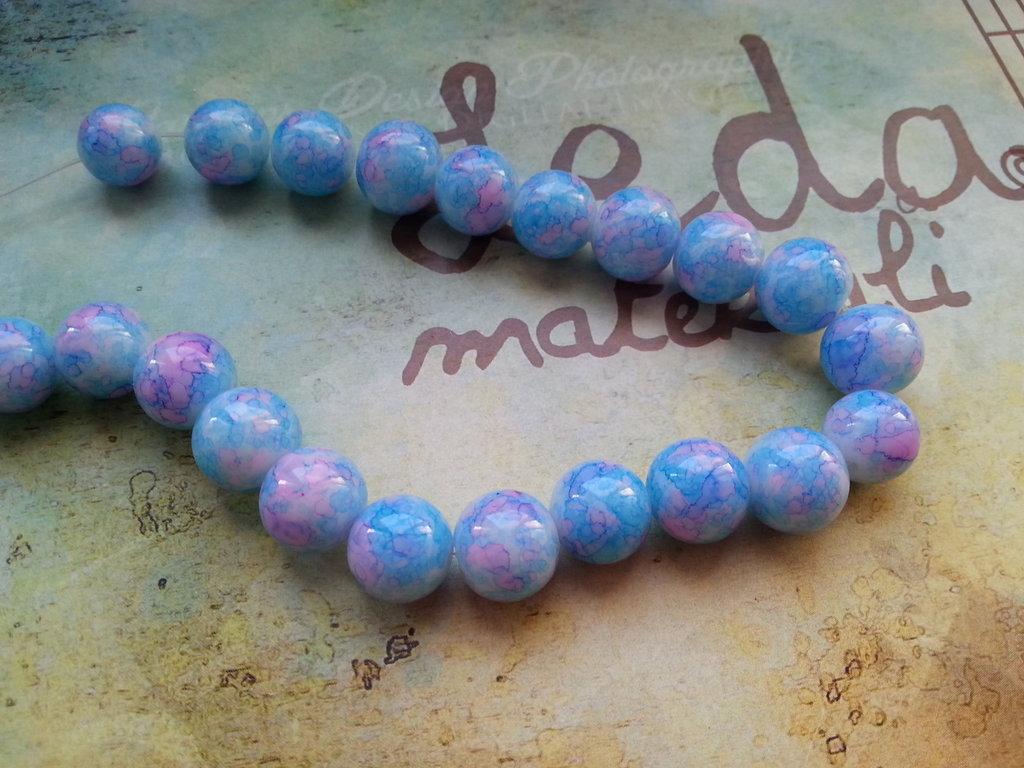 12 Perle in vetro 10mm - azzurre