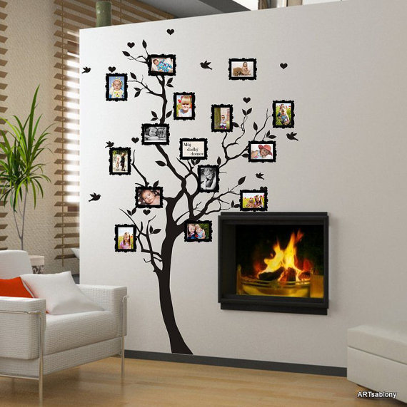 Wall sticker adesivo da parete albero genealogico per le - Stencil albero da parete ...