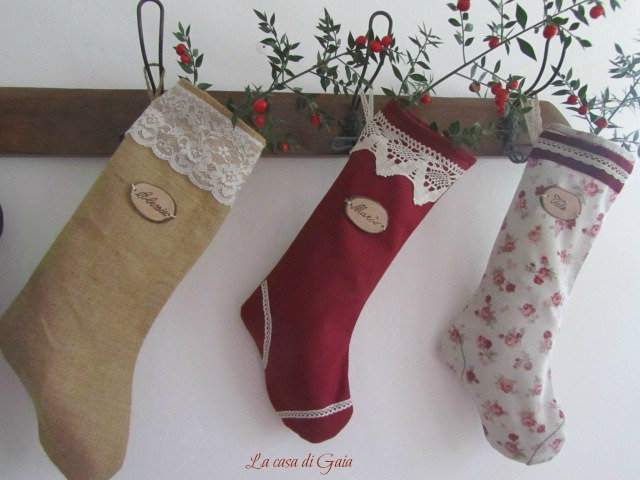 Calze natalizie personalizzate in stile Country chic