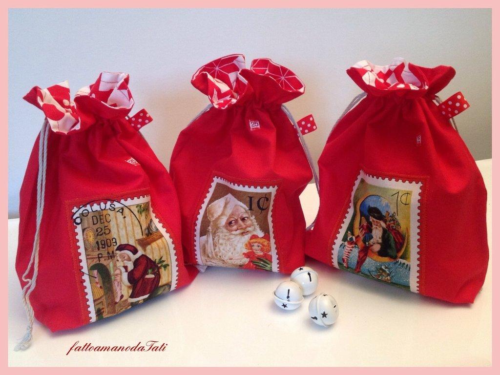 Sacchetto natalizio con francobollo Santa Claus