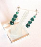 Orecchini pendenti  con perle in Fibra di Vetro color Smeraldo