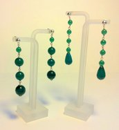 Orecchini pendenti con Perle & Goccia in Fibra di Vetro color Smeraldo