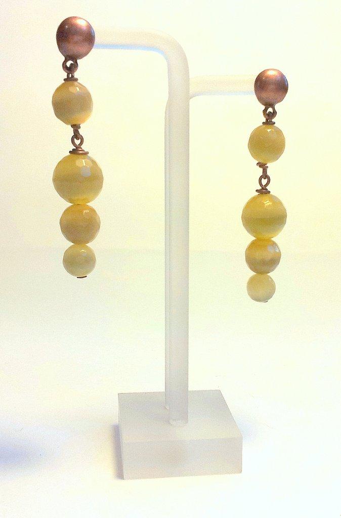 """Orecchini pendenti color Senape, collezione """"Fibra di Vetro"""""""