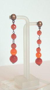 """Orecchini color Arancione & Ematite collezione """"Fibra Ottica"""""""