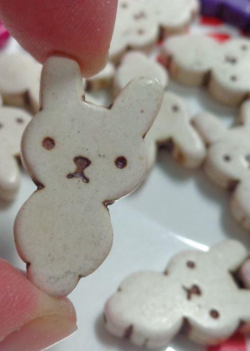 5 Perline Coniglietto colore CREMA