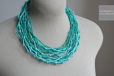 Tessile collana , Colori: turchese, verde, argento