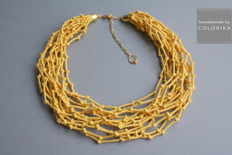 Tessile collana , Colori: giallo, oro