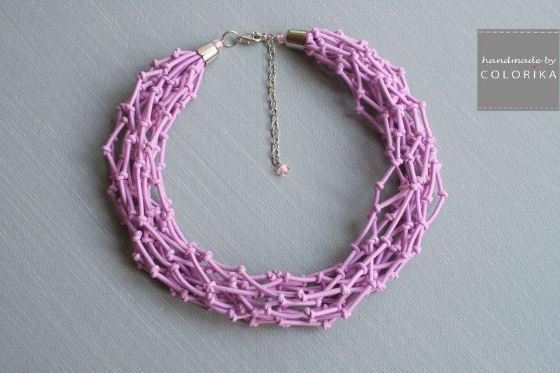 Tessile collana , Colori: rosa , argento