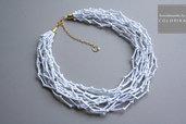 Tessile collana , Colori: bianco, oro