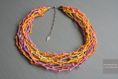 Tessile collana , Colori: multicolore, argento