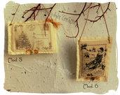 Cartoline profumate vintage in tessuto : decorazioni natalizie alla lavanda