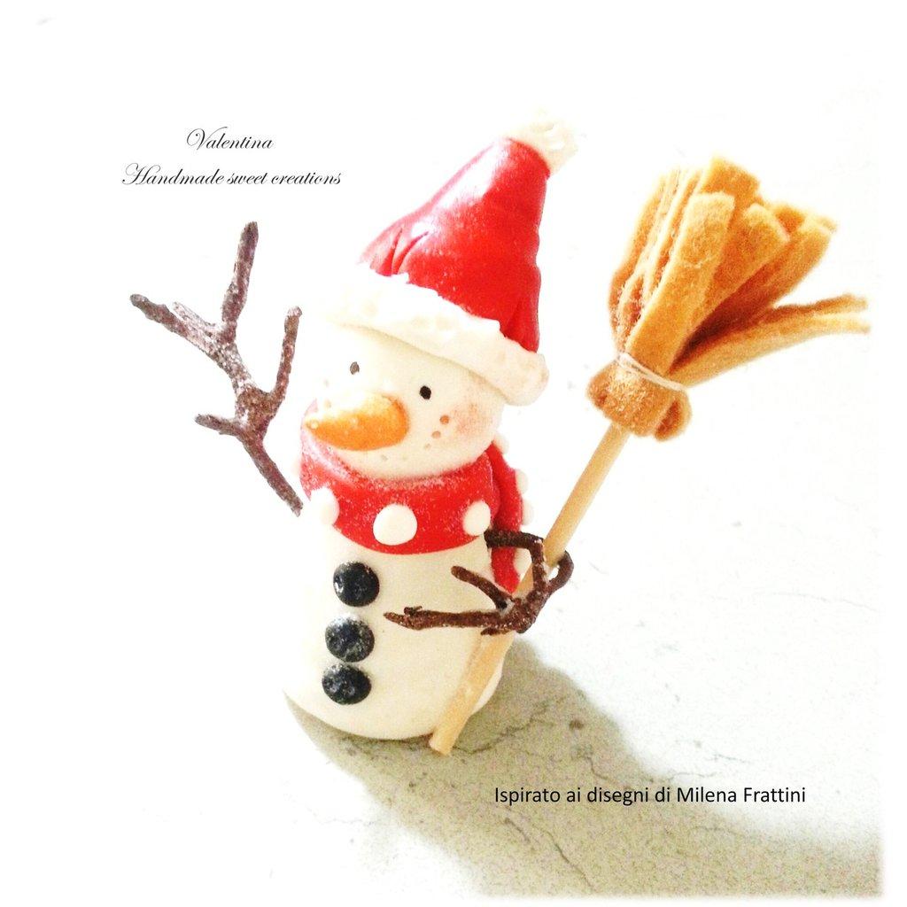 Segnaposto Pupazzo di neve con scopetta- decorazione natale