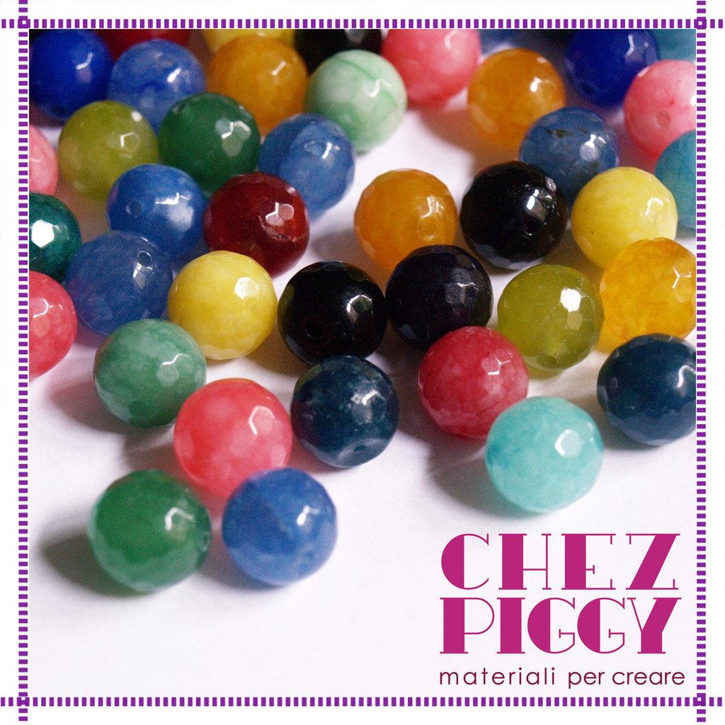 10 x perle in agata sfaccettate 10 mm - mix colori