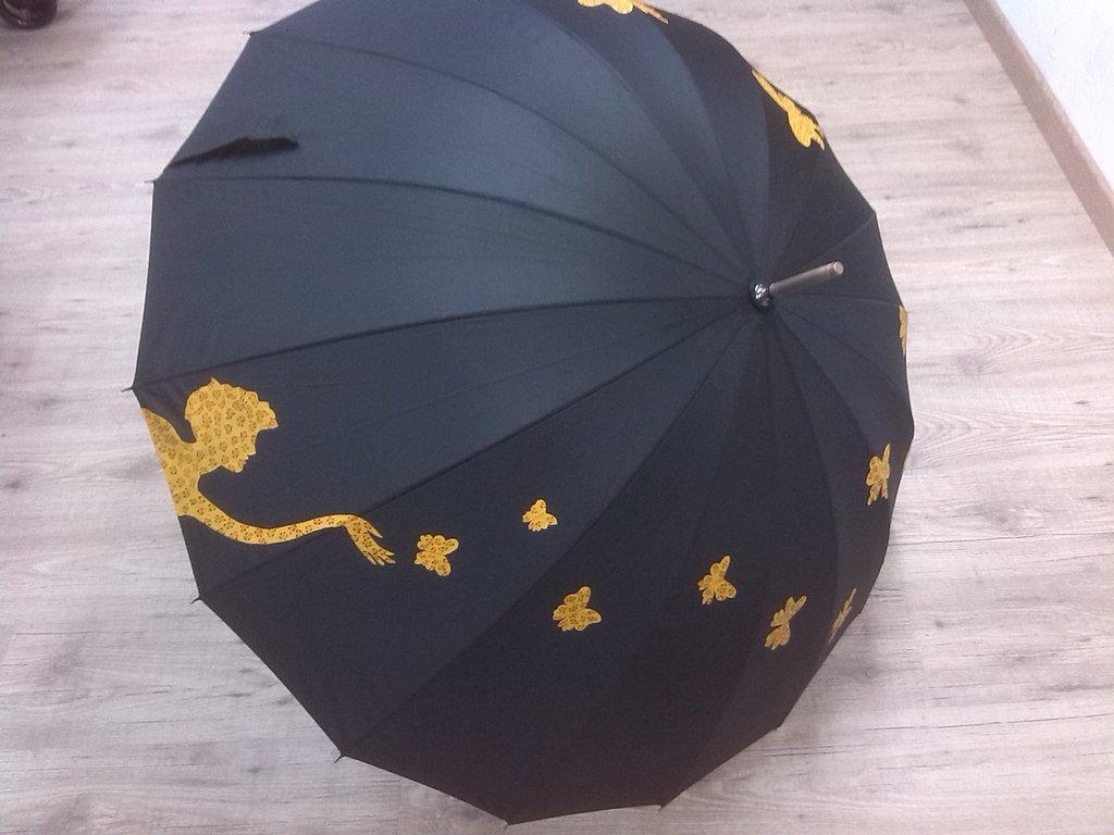 ombrello dipinto a mano,modello MARIPOSA