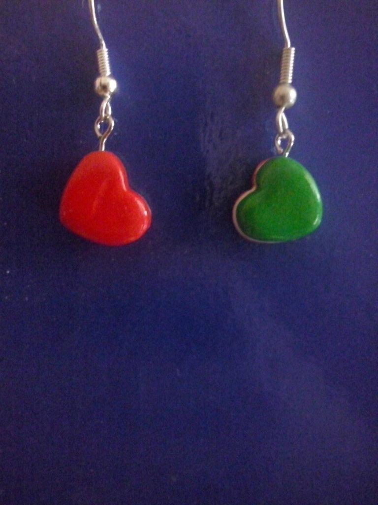Orecchini cuore tricolore