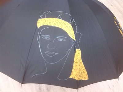"""ombrello dipinto a mano,modello """"afrik"""""""