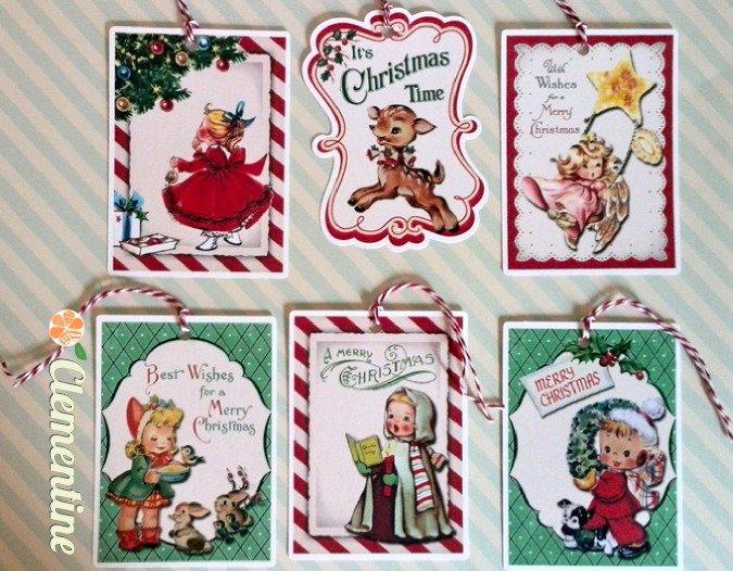 Tags natalizie con immagini vintage, lotto 9 pezzi