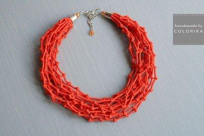 Tessile collana , Colori: arancione , argento