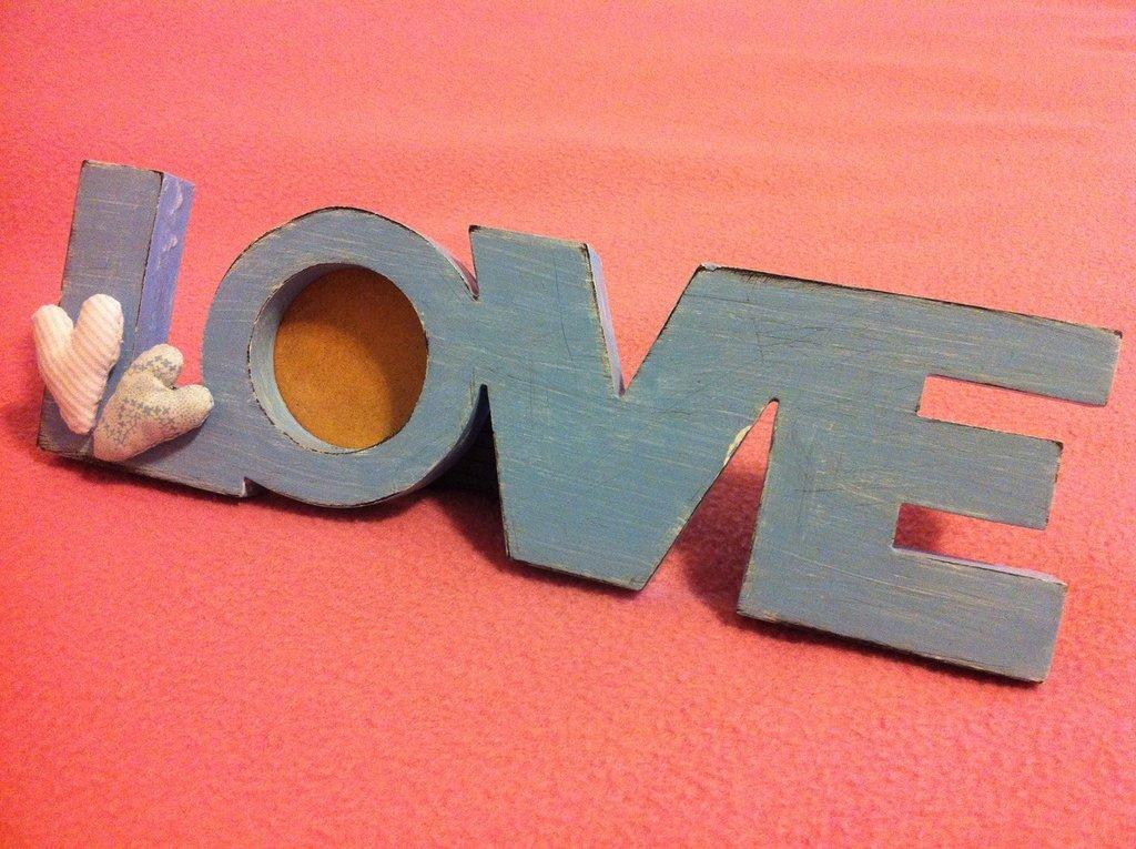 Cornice shabby LOVE azzurra