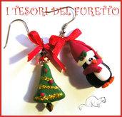 """Orecchini Natale """"Pinguino e Albero di Natale"""" fimo cernit kawaii idea regalo ragazza bambina 2014"""