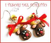 """Orecchini Natale """"Renne con campanelli dorati"""" fimo cernit kawaii rudolph regalo ragazza bambina"""