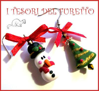 """Orecchini """"Pupazzo di Neve e albero di Natale"""" Fimo cernit kawaii idea regalo 2014 bambina ragazza"""