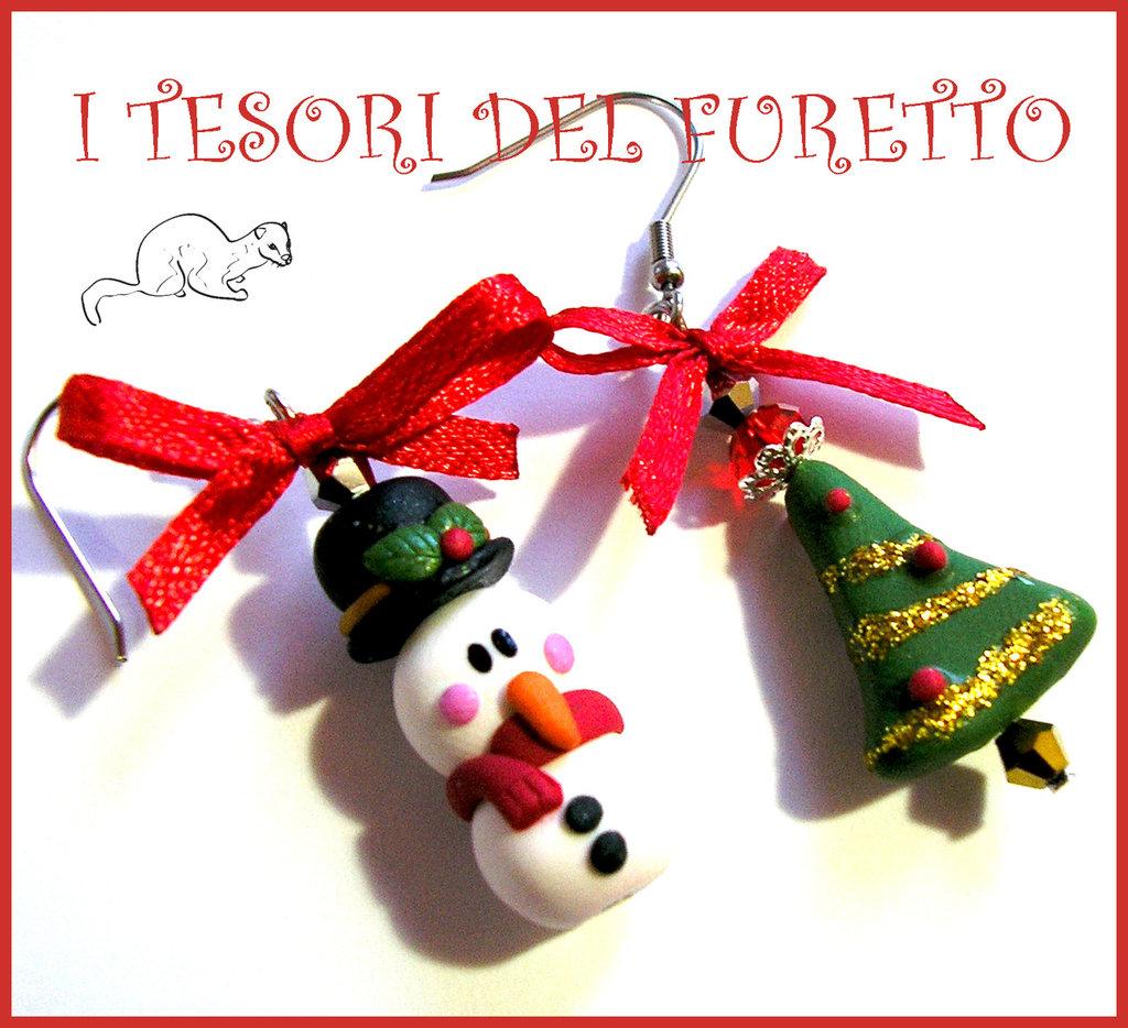 Orecchini pupazzo di neve e albero di natale fimo cernit for Pensierino natale