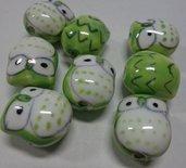 4 Perline Gufetti PISTACCHIO Porcellana