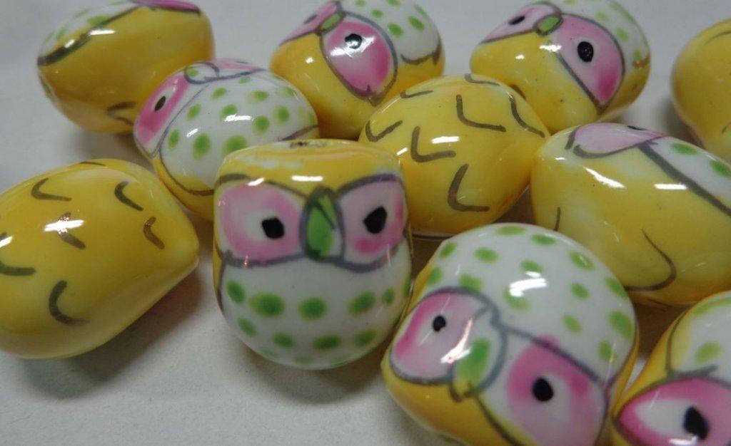 6 Perline Gufetti GIALLO Porcellana