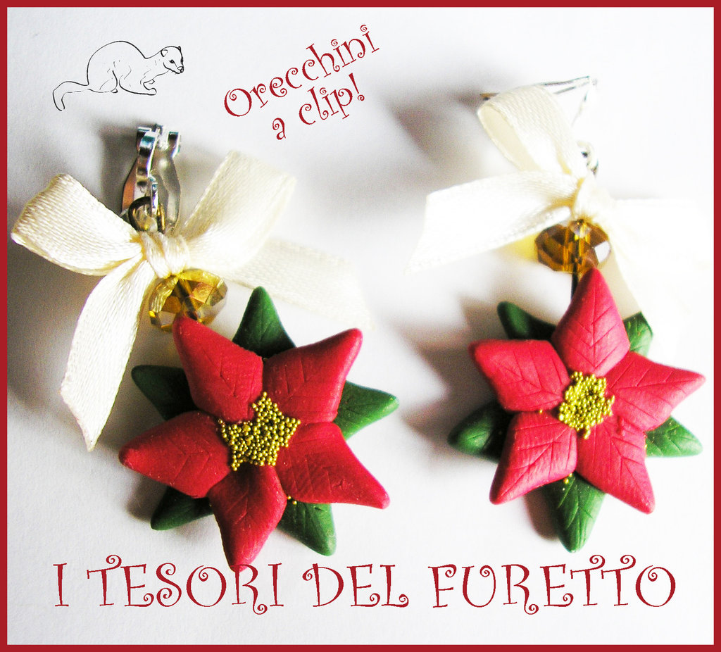 """Orecchini Natale a CLip """"Stella di Natale rossa"""" fimo cernit kawaii bambina senza fori 2014"""