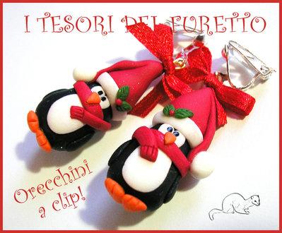 """Orecchini a clip Natale """"Pinguini con cappello e sciarpa rosso"""" fimo cernit kawaii idea regalo bambina senza fori"""