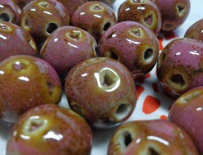 6 Perline in Porcellana colore ROSA e NOCCIOLA