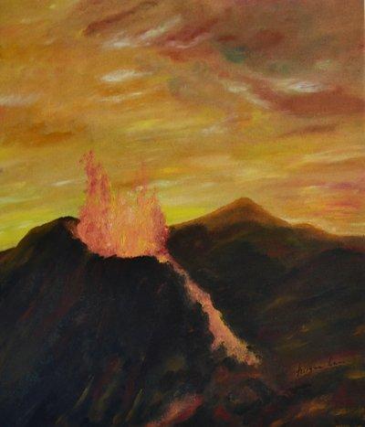 """Dipinto a mano """"L'eruzione"""""""