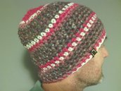 Cappelo in lana, uomo donna, fatto a mano all'uncinetto C090