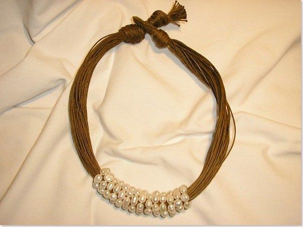Cerchi di perle filo marrone