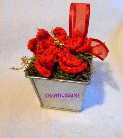 Vasetto Stella di Natale uncinetto fatta a mano