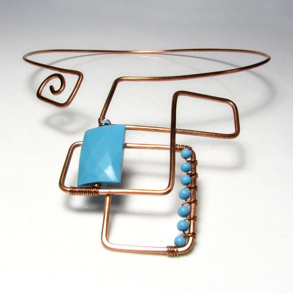 Collana in rame con turchese forme geometriche - Bohemian - 0336