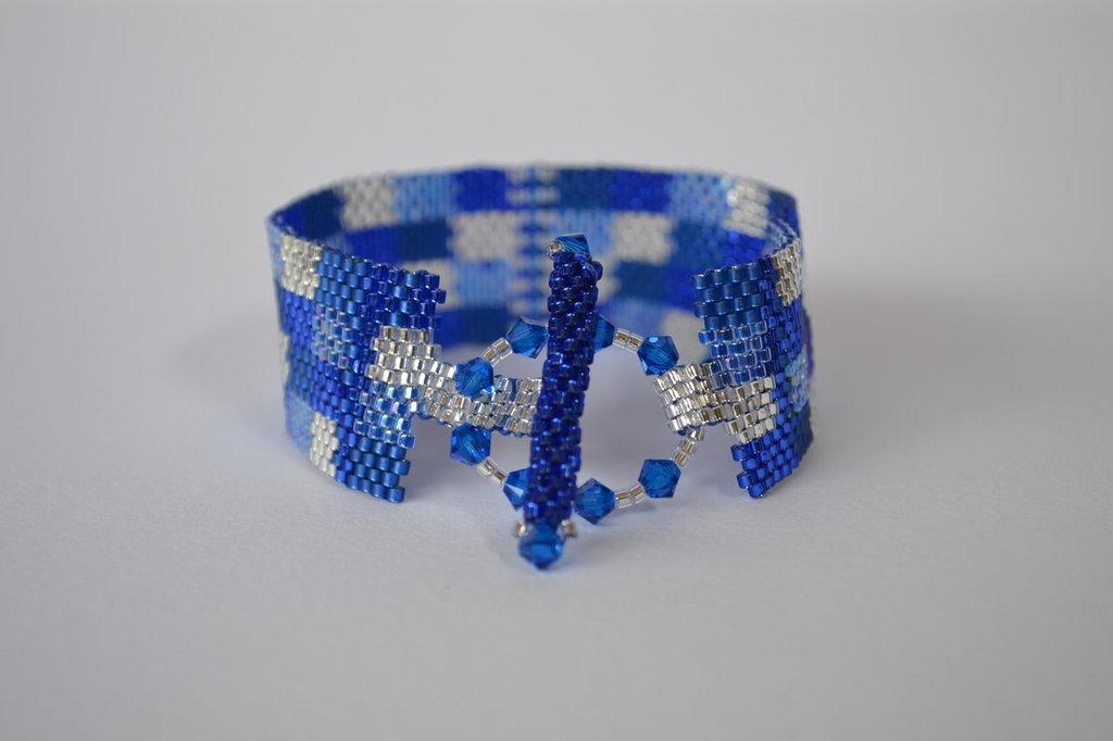 BRACCIALE  a fascia sul blu e con Swarovski elements