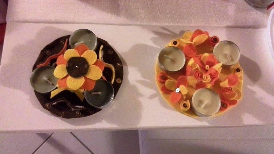 Centrotavola fiori di pannolenci e candele