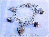 Bracciale con cristallo e charms cuore - Viola