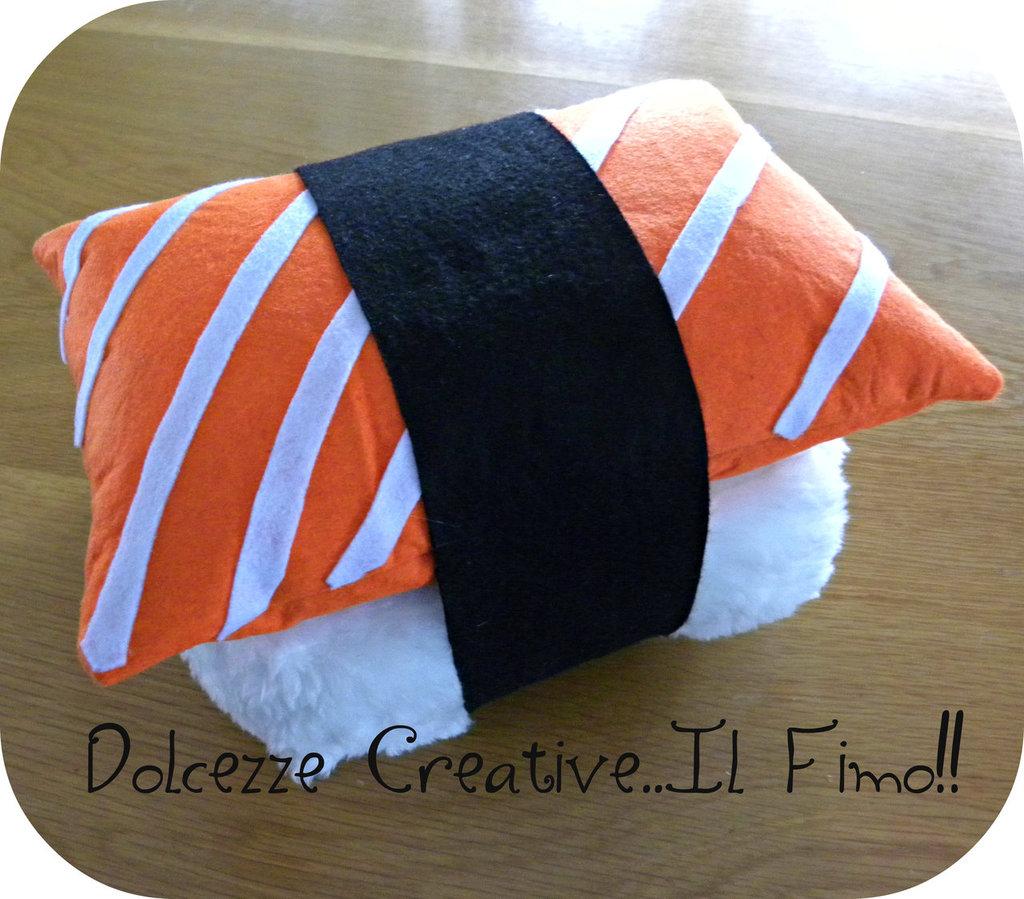 Cuscino Sushi Nigiri salmone riso idea regalo sushi lover kawaii pillow sashimi (su ordinazione)