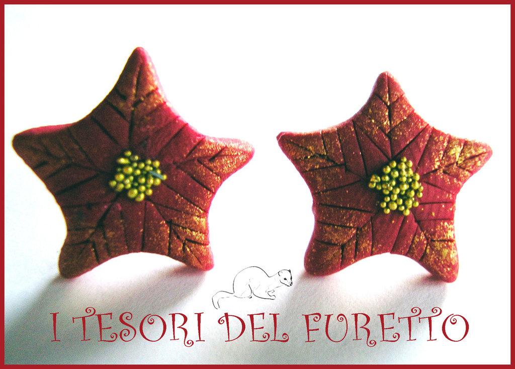 """Orecchini Perno Natale """"Stella di Natale Rossa oro"""" fimo cernit idea realo bijoux natalizi"""