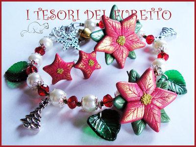 """Parure Natale """"Bracciale Orecchini perno Anello Stella di Natale"""" rosso oro fimo cernit kawaii idea regalo"""