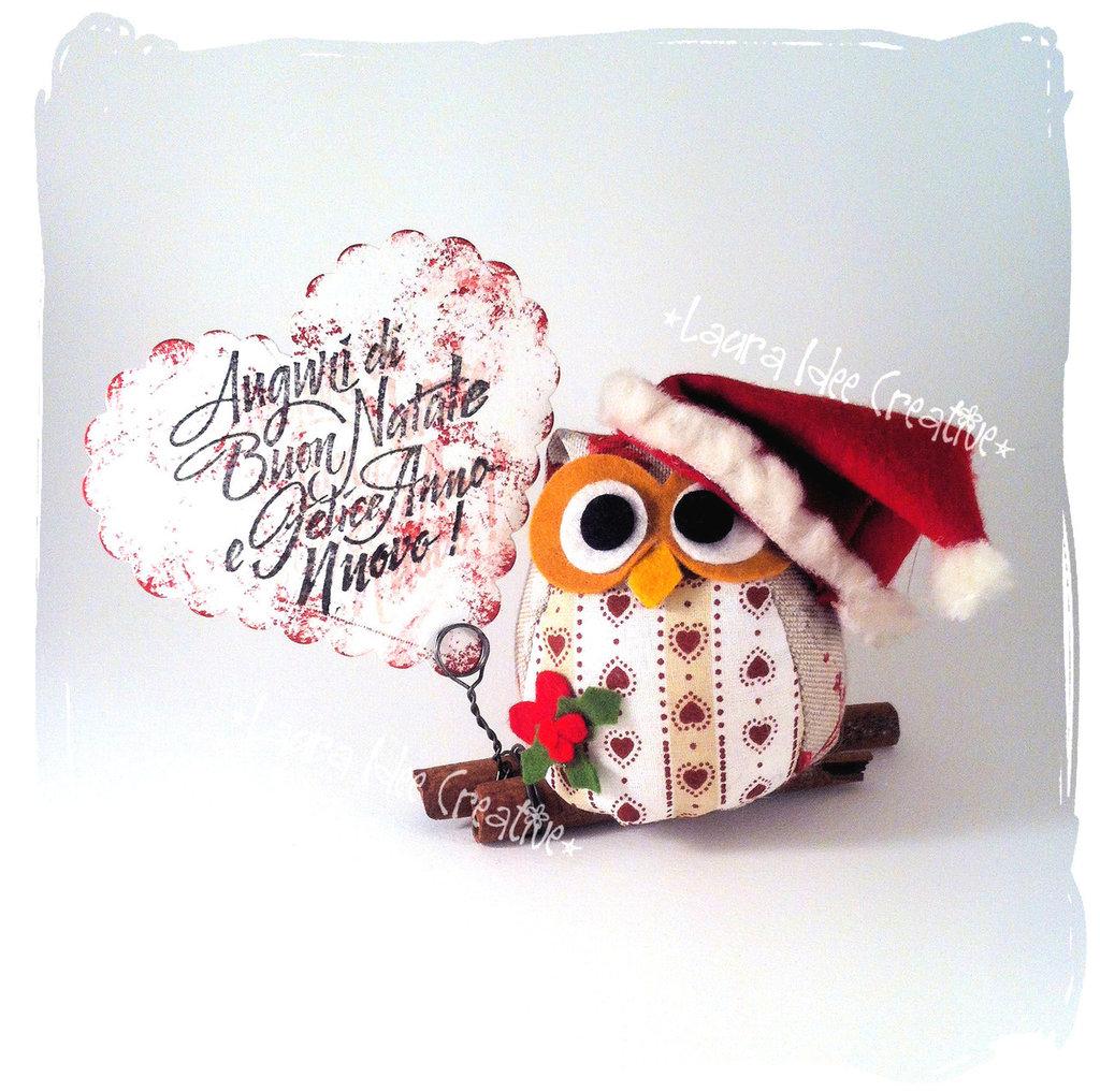 Gufo natalizio da appoggio -  Portamemo, segnaposto.