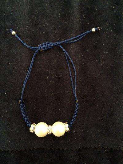 Bracciale perle e zirconi blu