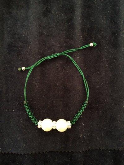 Bracciale perle e zirconi verde
