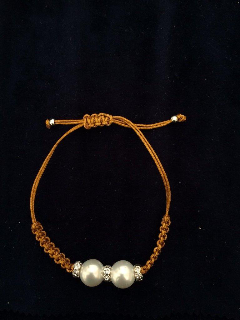 Bracciale perle e zirconi ocra/oro