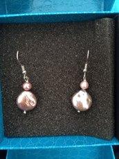 Orecchini perla barocca rosa