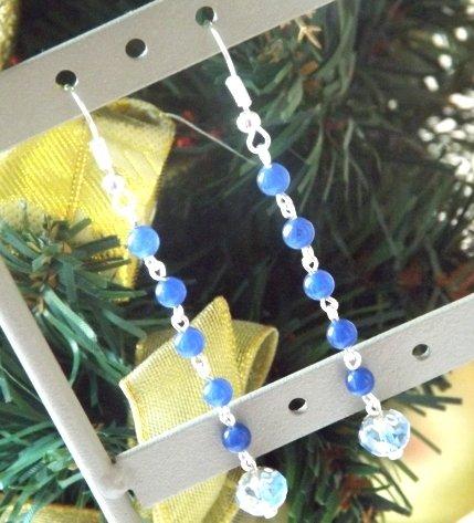 Orecchini con agata blu e cristallo azzurro idea regalo Natale