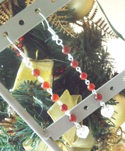 Orecchini con agata rossa e cristallo trasparente idea regalo Natale